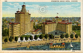 Edgewater Beach Hotel - Postcard of Edgwater Beach Hotel showing the 1916 and 1924 buildings.
