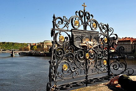 Cross on the bridge of St. John of Nepomuk 3 of 10 - Charles Bridge, PRAGUE.jpg
