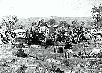 QF 4.7-inch Gun Mk I–IV - Gun on static siege mounting, Siege of Ladysmith.