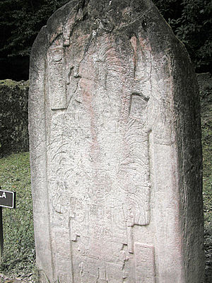 Jasaw Chan K'awiil I - Stela 16, erected in 711 representing Jasaw Chan K'awiil I.
