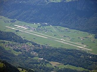 Oberhasli - Meiringen airbase as seen from Brienzer Rothorn.