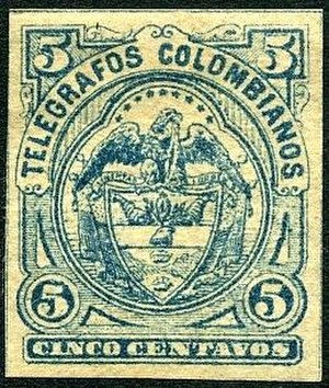 Telegraph stamp - Colombia, 1886 telegraph stamp.