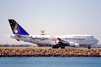 Ansett Australia - Boeing 747-400 Spaceship at Sydney Airport in September 1999