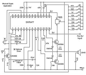 Circuit design - A circuit diagram for the Texas Instruments SN76477 sound chip