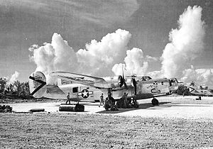 """864th Bombardment Squadron - B-24J-170-CO Liberator 44-4055 """"Kuuipo"""".   Kuuipo means 'sweetheart' in Hawaiian. Veteran of 45 combat missions when she was badly shot up by Japanese fighters on the July 25, 1945, mission to bomb Tsuiki,Kyushu. Only two of the eleven crew members survived."""