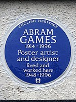 ABRAM GAMES 1914-1996 Poster artist and designer lived and worked here 1948-1996.jpg