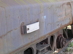 Automatic equipment identification - AEI tag affixed to the side of a freight car.