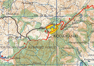 Kodaikanal - 1955 Topographic map of Kodaikanal