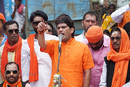 Hindu nationalist politician Arun Pathak organised a celebration in Varanasi to commemorate the 1992 demolition of the Babri Masjid mosque. ARUNPATHAK5.JPG