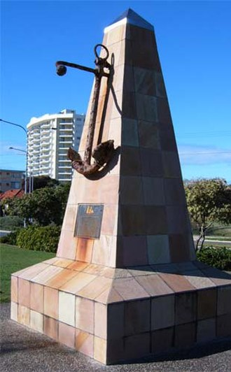 Coolangatta - Anchor from Coolangatta wreck site memorial; creek at right