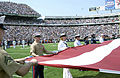 A large United States of America Flag was displayed by all the military services, at the Buffalo Bills versus New England Patriots Game, at Niagara Falls, New York, on September 7th, 2003 030907-F-KW623-001.jpg