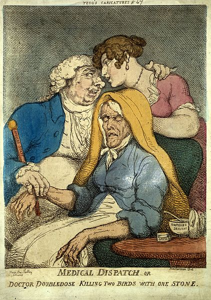 File:A lecherous doctor taking the pulse of an old woman whilst f Wellcome M0008888.jpg