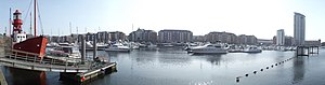 A panorama at a marina in Swansea, Wales.jpg