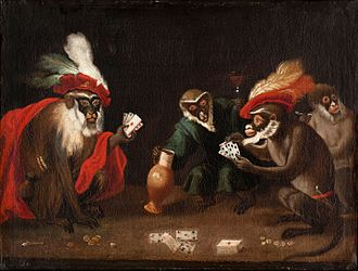 Singerie - Card playing monkeys, Abraham Teniers, mid-17th century