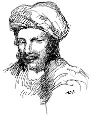 Abu Nuwas, as drawn by Khalil Gibran in 1916.