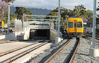 Goodwood railway station - Train on the Belair line passing the underpass