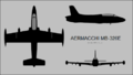 Aermacchi MB-326E three-view silhouette.png