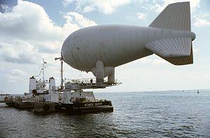 Tethered Aerostat Radar System - The Aerostat ship Atlantic Sentry at Mallory dock in September 1987