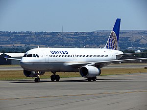 Billings Logan International Airport - A taxiing United Airlines Airbus A320.