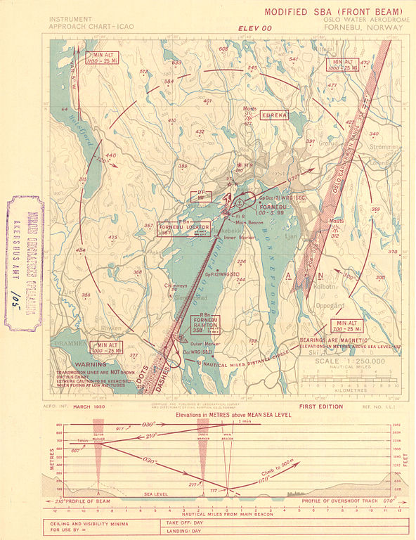 Sea Level Chart: Akershus amt nr 105- Instrument Approach Chart ICAO 1950.jpg ,Chart