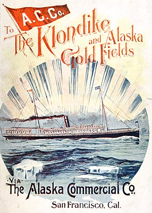 Alaska Commercial Company - Cover of an 1898 advertising guidebook issued by the Alaska Commercial Company for those travelling north as part of the Klondike Gold Rush