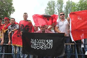 2012 Republic of Macedonia inter-ethnic violence - Albanian Protesters with Albanian national flags and Islamic flags