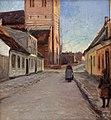 Albert Gottschalk - Gade i Køge med Nicolai kirke til venstre - KMS6695 - Statens Museum for Kunst.jpg