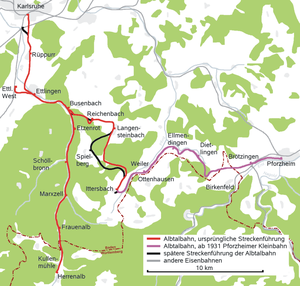 Busenbach–Ittersbach railway - Image: Albtalbahn Streckenplan 1901