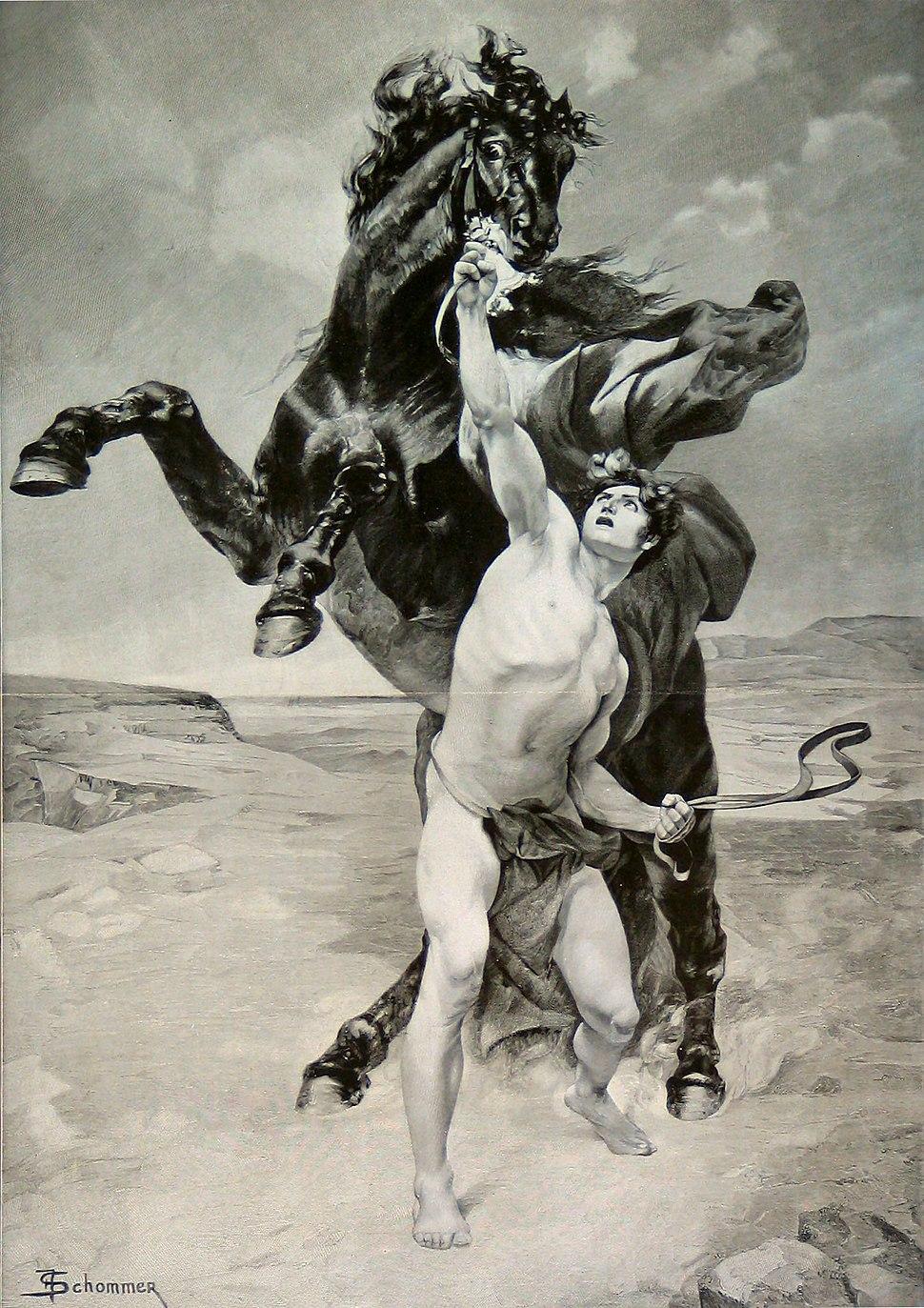 Alexander taming Bucephalus by F. Schommer, German, late 19th century