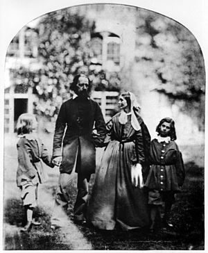 Alfred, Lord Tennyson - Tennyson with his wife Emily (1813–1896) and his sons Hallam (1852–1928) and Lionel (1854–1886)