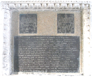 George Montgomery (bishop) - Monumental brass mural monument in Washfield Church, Devon, erected by Montgomery in memory of his mother-in-law Alice Fry (died 1605). His arms are shown on the escutcheon at sinister, impaling Steyning: Argent, a bat displayed sable.