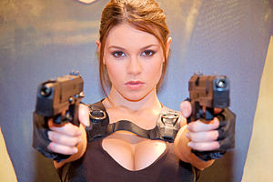 Promotional model - Alison Carroll dressed up as Lara Croft at the Paris Game Festival 2008