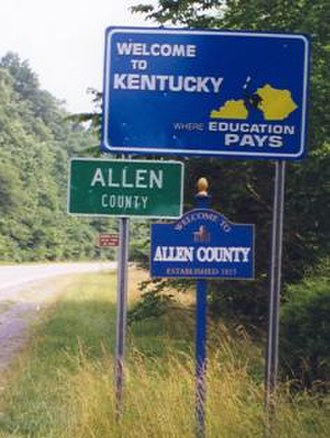 Allen County, Kentucky - Signs indicate the border of Allen County and Kentucky on State Route 231