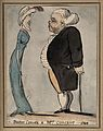 An obese man talking to a tall lean woman. Pen drawing, 1796 Wellcome V0010976.jpg