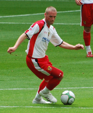Andy Drury - Drury playing for Stevenage Borough in the 2009 FA Trophy Final