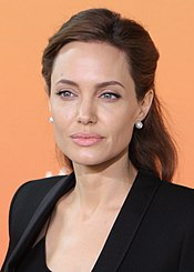 A photograph of Jolie attending the Global Summit to End Sexual Violence in Conflict
