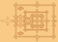 A diagram map of Angkor Wat reveal the concentric square galleries. On the right is an aerial view of the central structure of Angkor Wat, in front of it lies the cruciform terrace.