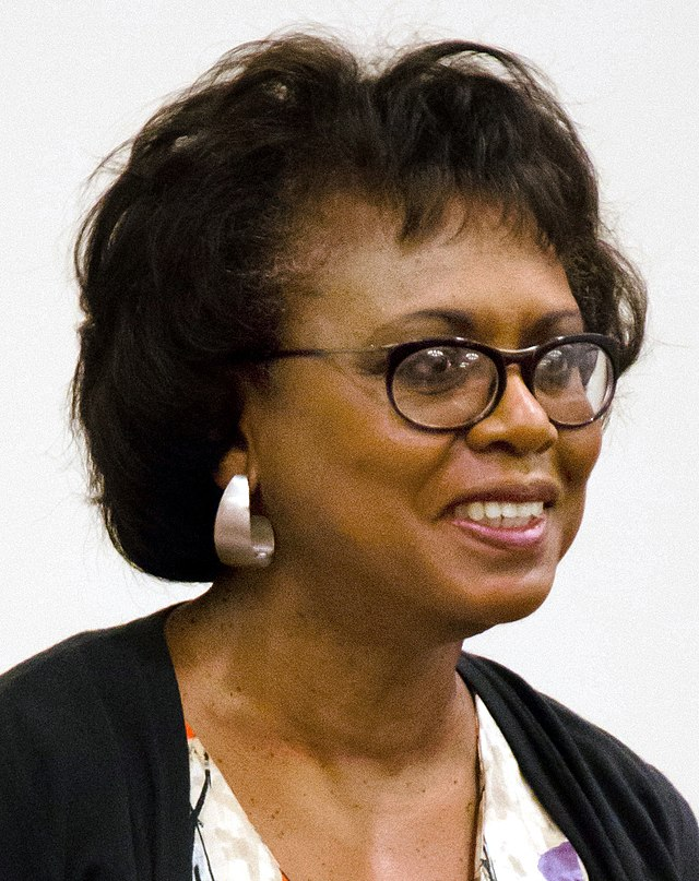 From commons.wikimedia.org: Anita Hill at Harvard Law School Sep 2014 {MID-202477}