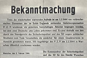 Hostage - German announcement of the execution of 100 Polish hostages as revenge for death of 2 Germans in Warsaw, occupied Poland, February 1944