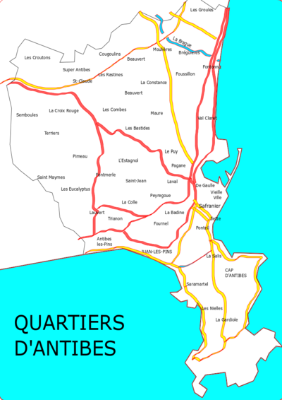 Carte des quartiers d'Antibes