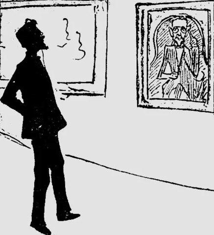 Чехову портрет Браза не нравился. «Говорят, что и я, и галстук очень похожи, но выражение… такое, точно я нанюхался хрену». Шарж А. Хотяинцевой