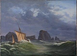 En shetlandsk fiskerbåd i stormfuldt vejr nord for Orkneyøerne