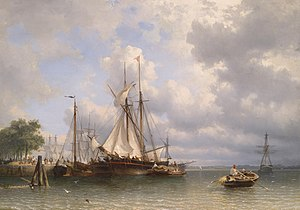 Anthonie Waldorp - Anthonie Waldorp, Sailing ships in the harbor, 1862, Oil on canvas.