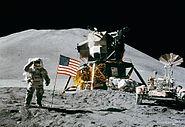 Apollo 15 flag, rover, LM, Irwin cropped
