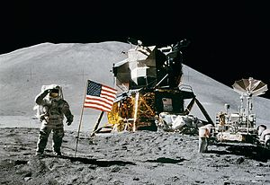 Apollo 15 flag, rover, LM, Irwin cropped