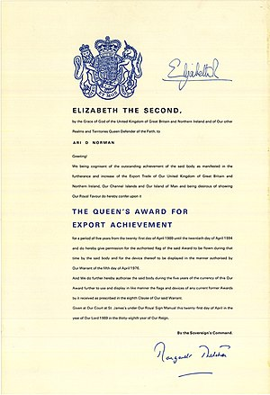 Ari Norman - Queen's Award for Export Achievement Certificate