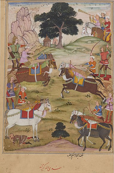 File:Arjuna and Bhishma in their war chariots attacking one another from opposing sides..jpg