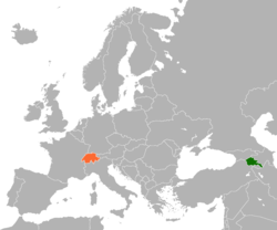 Map indicating locations of Armenia and Switzerland