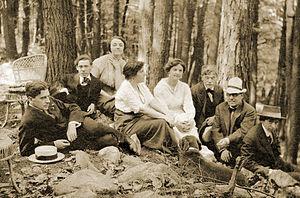 Agnes E. Meyer - Left to right:  Paul Haviland, Abraham Walkowitz, Katharine Rhoades, Mrs. Alfred Stieglitz, Agnes Meyer, Alfred Stieglitz, J.B. Kerfoot, John Marin