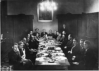 Maciej Masłowski - Assembly of Fine Arts Section of Ministry of Religious Denominations and Public Education, Warsaw, Poland, 1938, Maciej Masłowski 5th on the left